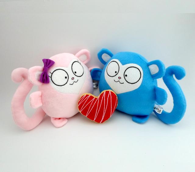 Minkky y Monkky de Peluche  Guyuminos monos regalo de cumpleaños,