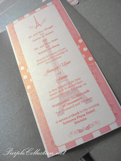 paris eifel tower wedding card, horse carriage, fairy tale, bintulu wedding card, sarawak wedding card, pink satin ribbon wedding, pearl silver card cover, pearl white tag, wedding card