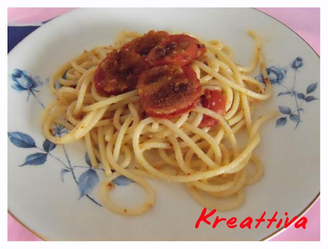 Spaghettoni con pomodorini al forno
