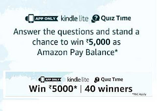 ANSWERS - Amazon KINDLE LITE QUIZ TIME ANSWER and Win Rs.5000/-