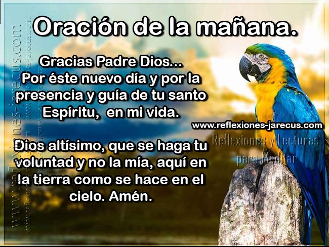 Oración de la mañana Gracias Padre Dios por este nuevo día y por la presencia y guía de tu santo espíritu en mi vida. Dios altísimo, que se haga tu voluntad y no la mía, aquí en la tierra como se hace en el cielo. Amén