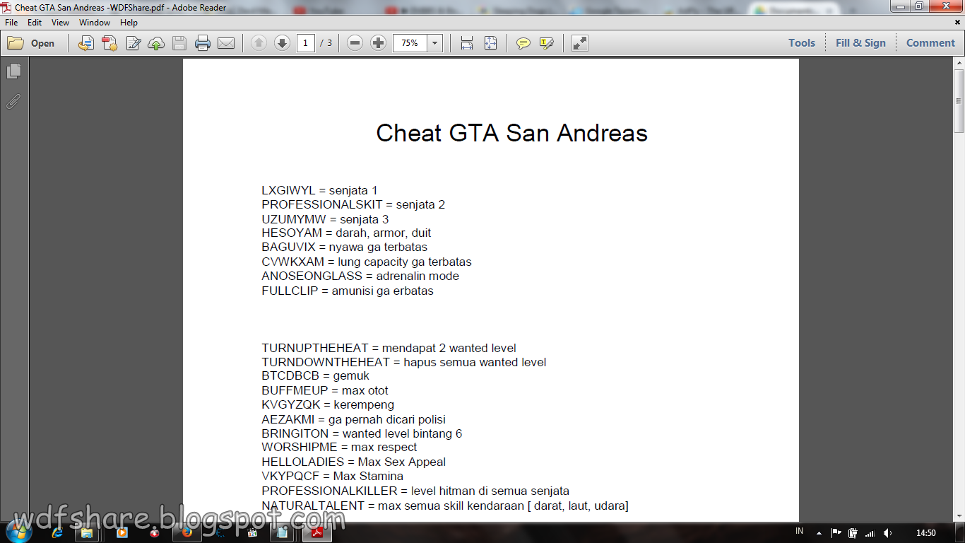 Code GTA San Andreas Complated