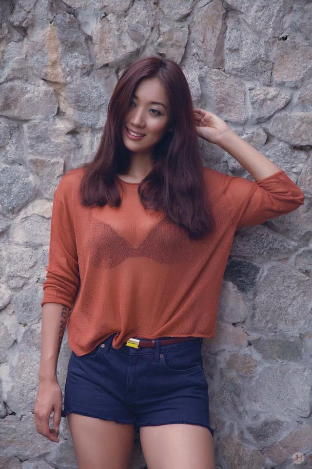 Lu Lu Aung Short Jean Pants and Orange Sweater Fashion Style