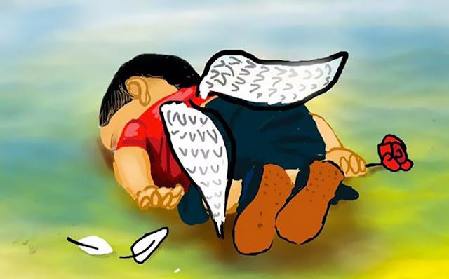 karikatura trogodisnjeg mrtvog sirijskog djecaka