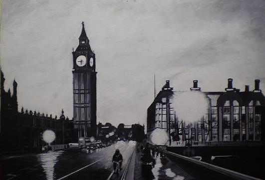 Black And White Cityscape Paintings