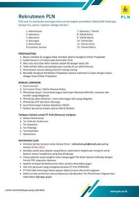 Rekrument PT PLN Persero 2019 (Terbaru)