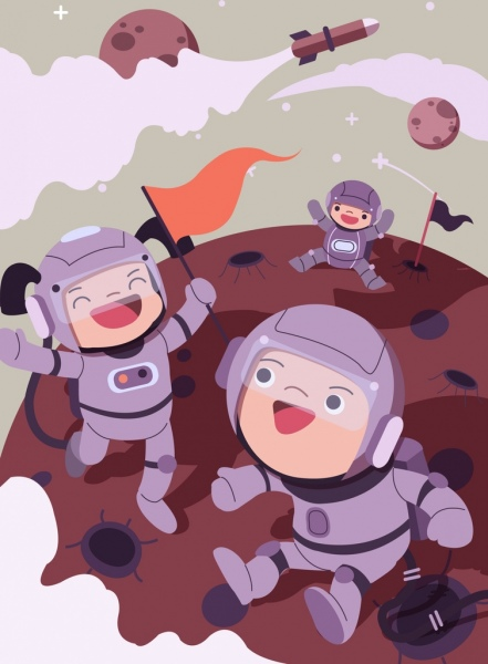 Astronomy background joyful kids astronaus icons cartoon characters Free vector