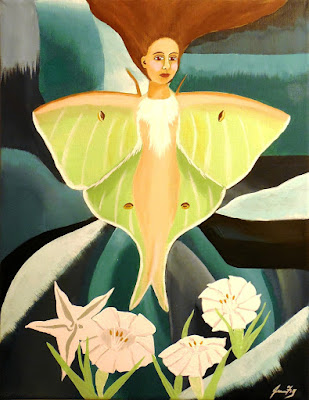Luna's Moonlit Garden an Original Pop Surrealism Painting of Luna Moth by Jeanne Fry