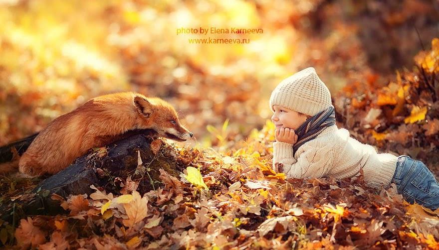 children and animal playing elena karneeva-3