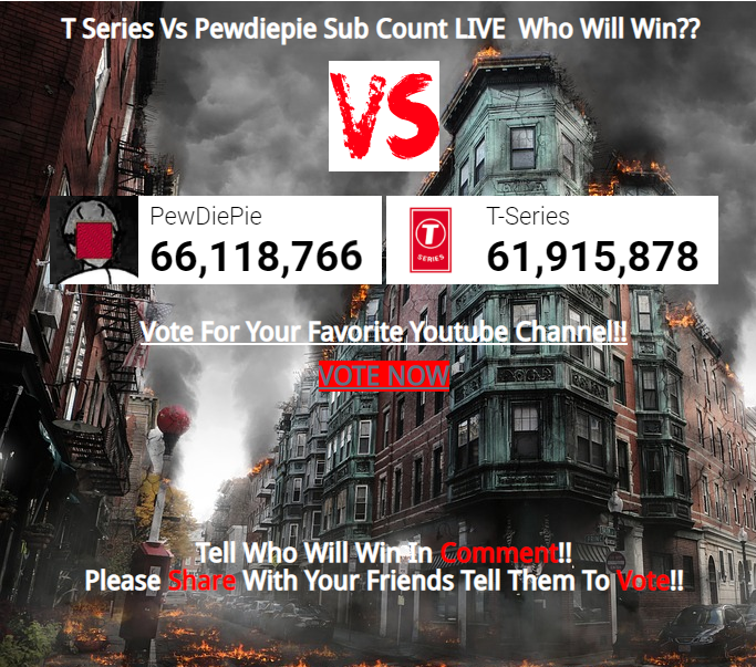 T-Series Vs Pewdiepie Live Sub Count || Who Will Win?? ~ Latest