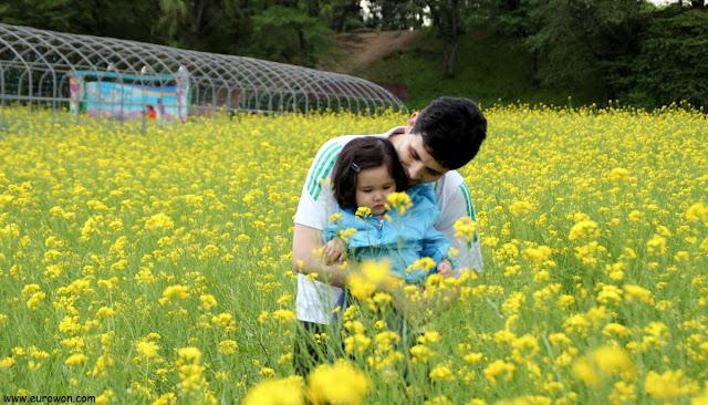 Padre e hija en campo de flores amarillas