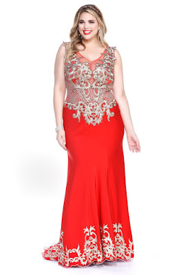 Red Plus Size Evening Dress