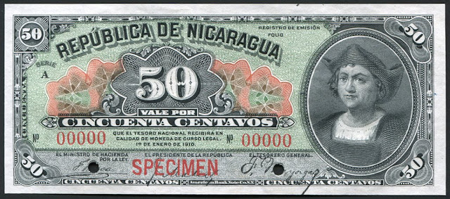 Nicaragua currency 50 Centavos Banknote