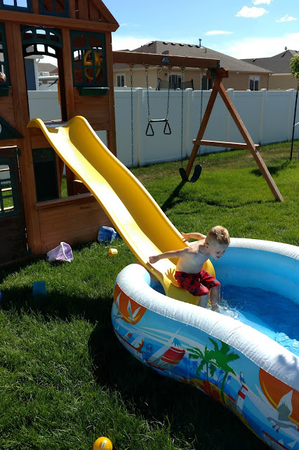 Put a blow up pool at the bottom of your slide and you have an instant waterslide!
