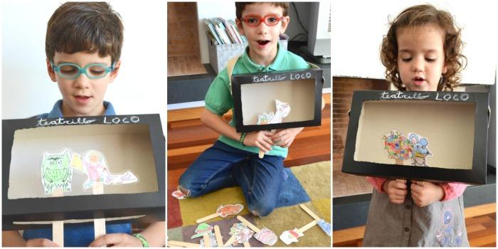 DIY teatro de cartón con títeres de personajes de cuento imprimibles, para inventar historias y crear cuentos, creatividad infantil