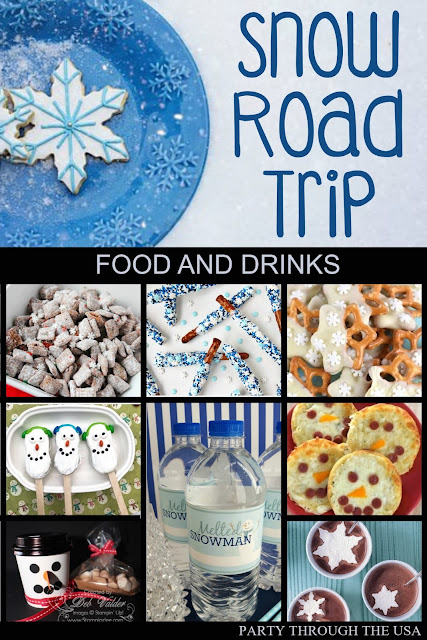 Snowman Themed Road Trip // Party Through the USA // winter // snow // snowman // party foods // road trips with kids // car trip activities for kids // travel food // winter drinks // winter party food