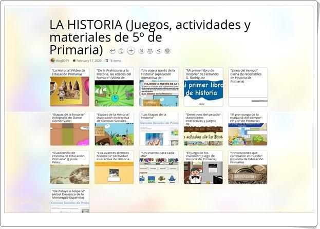 16 juegos, actividades y materiales sobre LA HISTORIA de 5º de Primaria