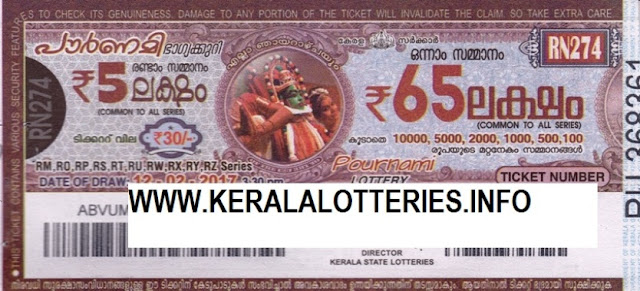 Official Kerala lottery result of Pournami_RN-105