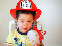 Make a cereal box fireman's hat for child and toy
