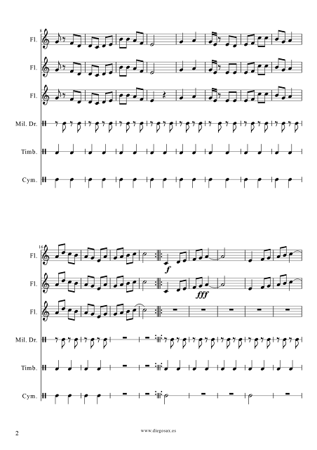 2 Partituras del Pasacalle Martín Alonso para Banda de Flautas y Pequeña Percusión