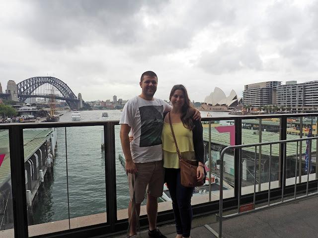Couple at Circular Quay and Sydney Harbour Bridge