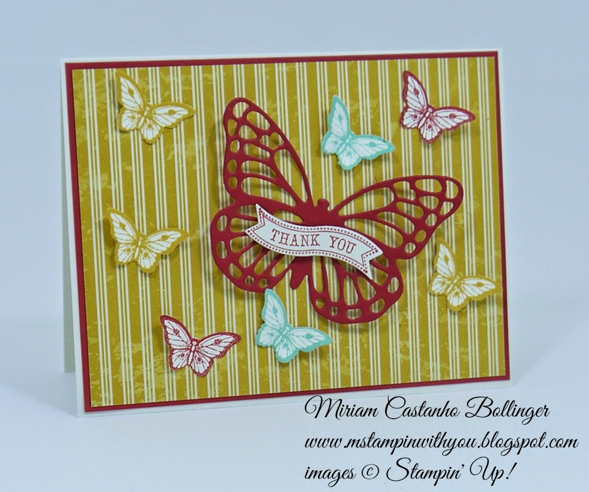 Miriam Castanho Bollinger, #mstampinwithyou, stampin up, demonstrator, dsc, thank you, flashback dsp, papillon potpourri, itty bitty banners, bitty butterfly, big shot, bitty banners, butterflies thinlits die, su