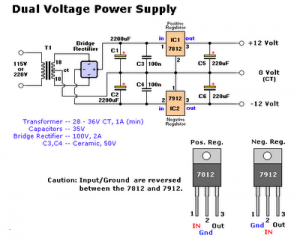 7812 and 7912 dual regulator circuit with explanation