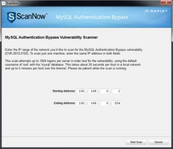 scan mysql root authentication vulnerability CVE-2012-2122