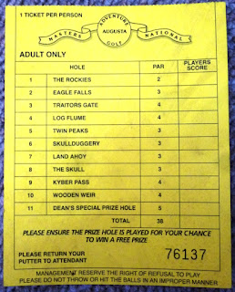 Adventure Golf scorecard from The Pavilion Fun Park in Clacton-on-Sea
