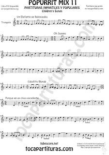 Trompeta y Fliscorno Partitura de Un elefante se balanceaba, Oh Susana, Es un chico excelente y Caballito Blanco infantil Popurrí Mix 11 Sheet Music for Trumpet and Flugelhorn Music Scores