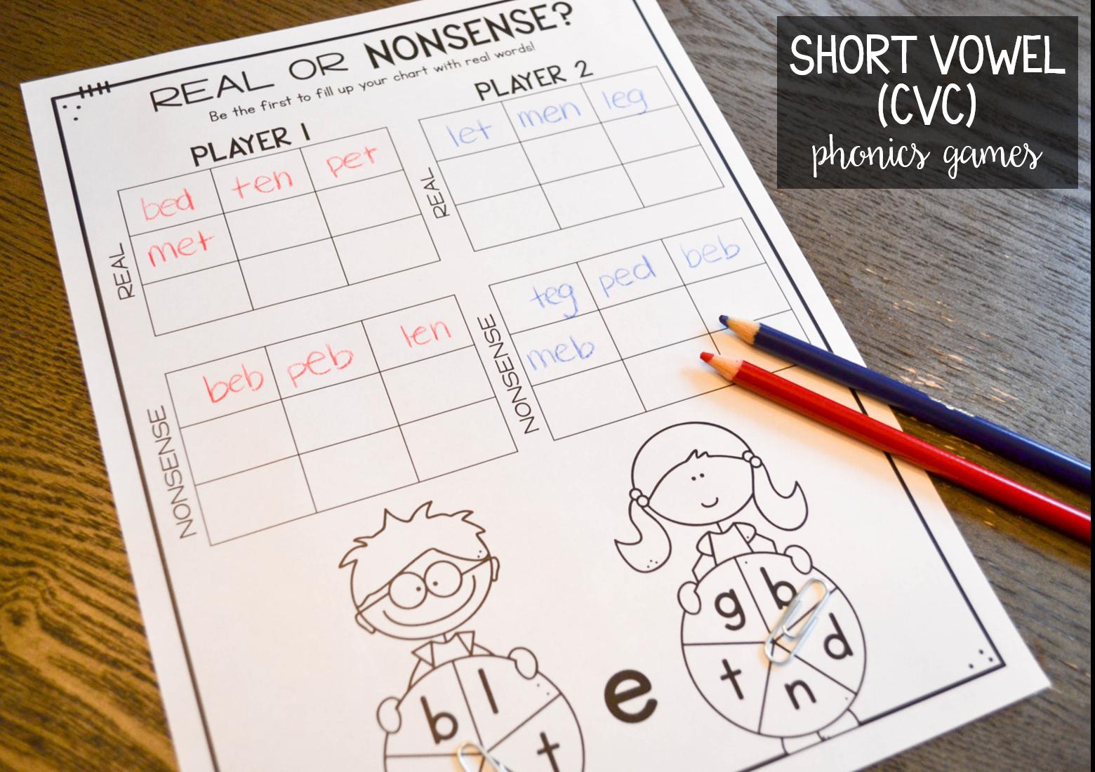 Short Vowel Cvc Phonics Games