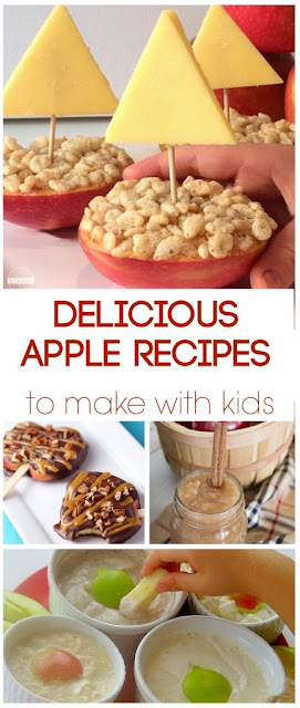 31 Apple Recipes to make with Kids - so many yummy fall recipes including apple breakfast recipes, apple snack recipes, apples for dinner, apple lunch recipes,and so much more. Yummy!