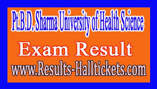 Pt.B.D Sharma University of Health Science BPO IVth Year Annual Sep 2016 Exam Results