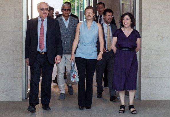 "Hereditary Grand Duchess Stephanie of Luxembourg attended the MUDAM's ""Nuit des Mécènes"" event, Princess wore Paule Ka Paris silk blouse"
