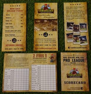 Leaflets and scorecards from Lumberjax Mini Golf