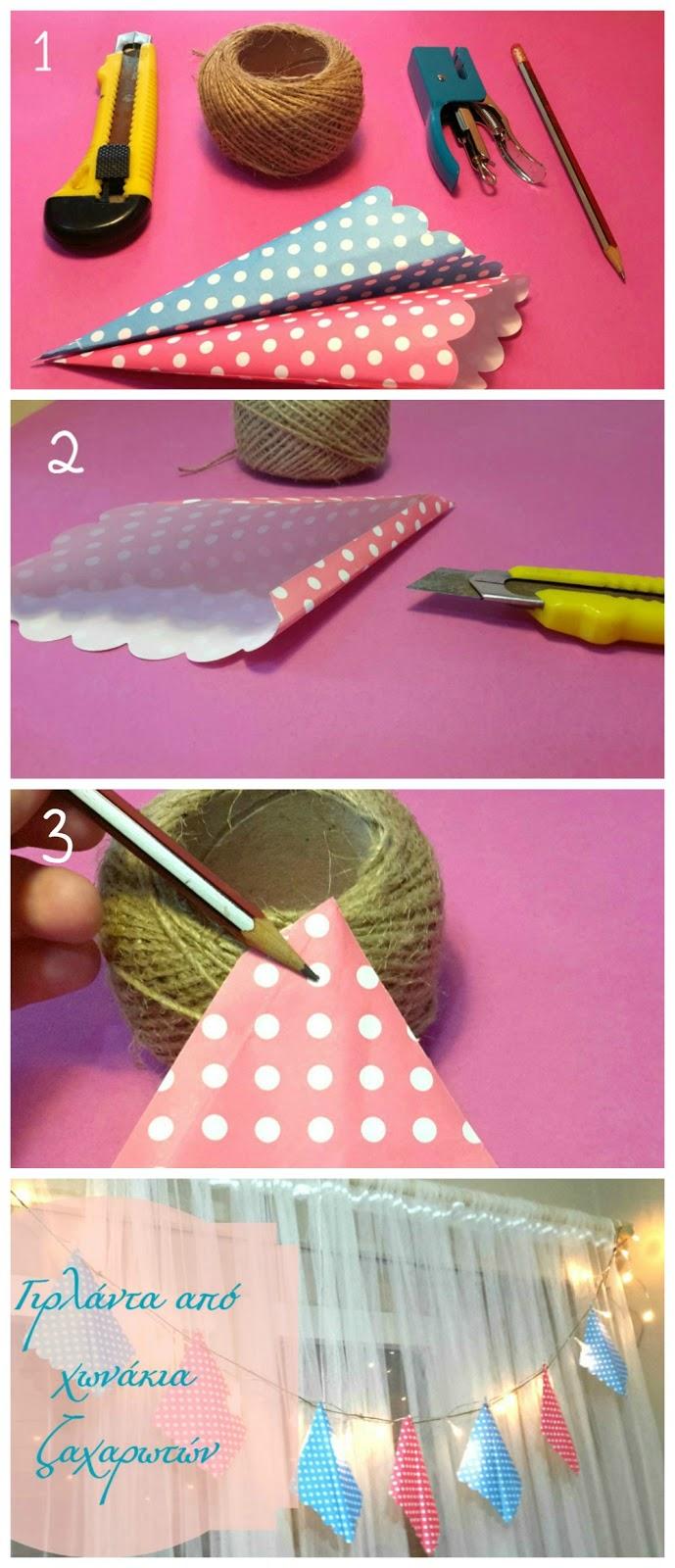 τα χάρτινα χωνάκια,  ο σπάγκος κοπίδι απλό  ένα μολύβι  και προαιρετικά συρραπτικό