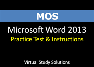 Microsoft Office Specialist MOS Microsoft Word 2013 Practice Test
