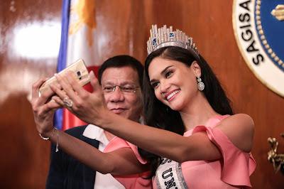 Miss Universe Pia Wurtzbach visits Philippines President Rodrigo Duterte. FilAm, Half Filipina, Half Amazing