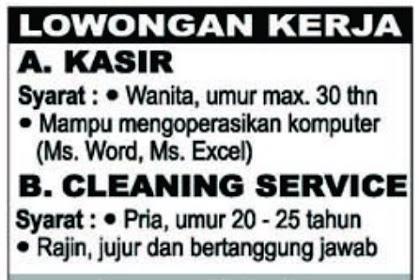 Loker Kasir & Cleaning Service Willy Salon Batam