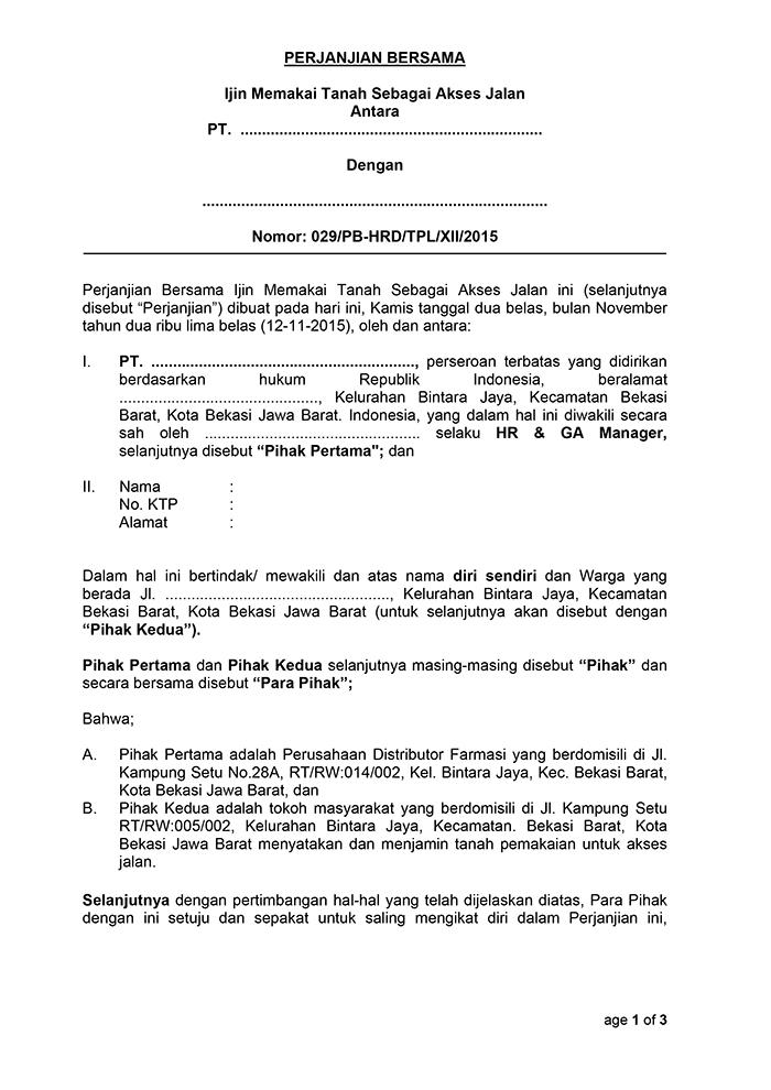 Surat Perjanjian Bersama