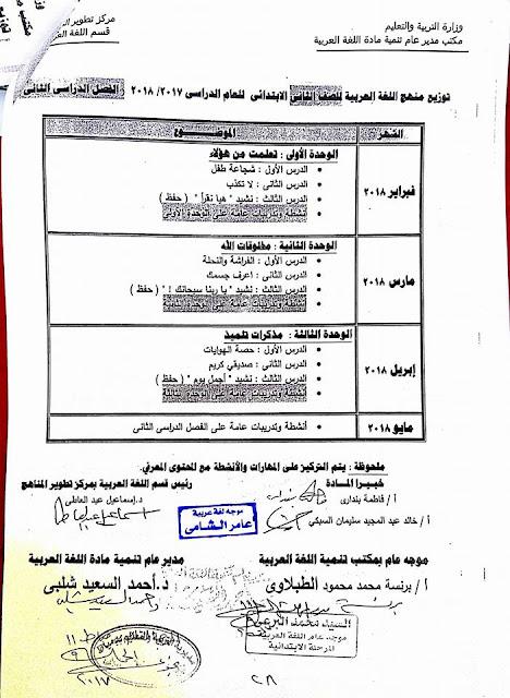 توزيع منهج اللغة العربية 2019 المرحلة الأبتدائية كاملة الصف الثاني