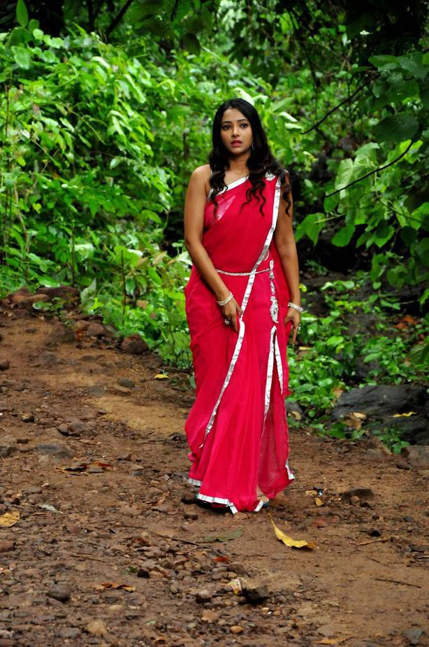 Actress Shweta Basu Hot Sleeveless Red Saree Photos