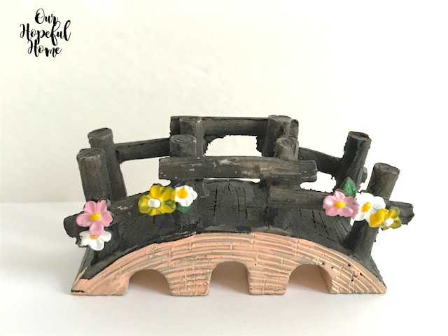 fairy garden bridge flowers figurine