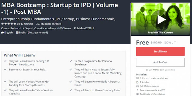 [100% Off] MBA Bootcamp : Startup to IPO ( Volume -1) - Post MBA| Worth 199,99$