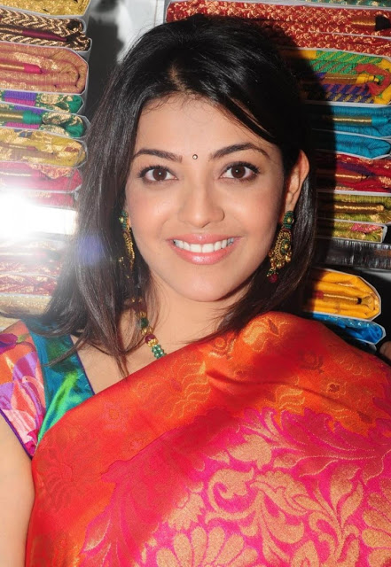 Kajal Agarwal Hot In Navel Show Photos Blue Saree