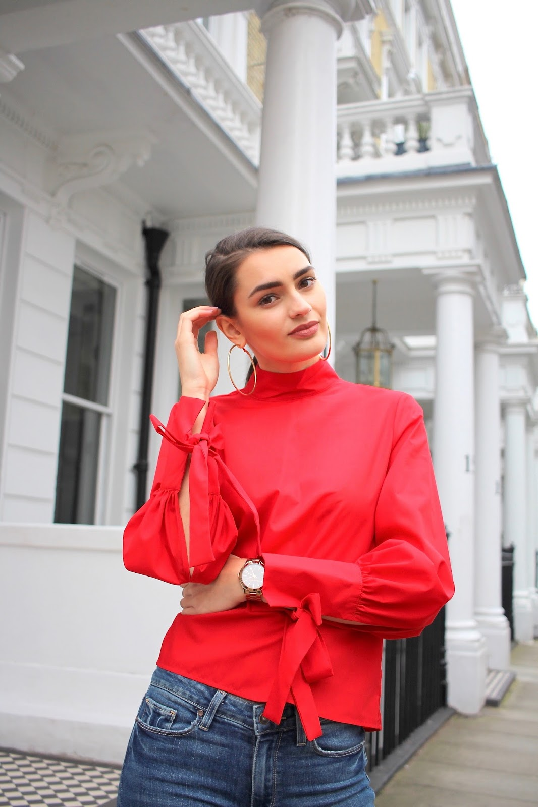 spring style blogger peexo topshop red top