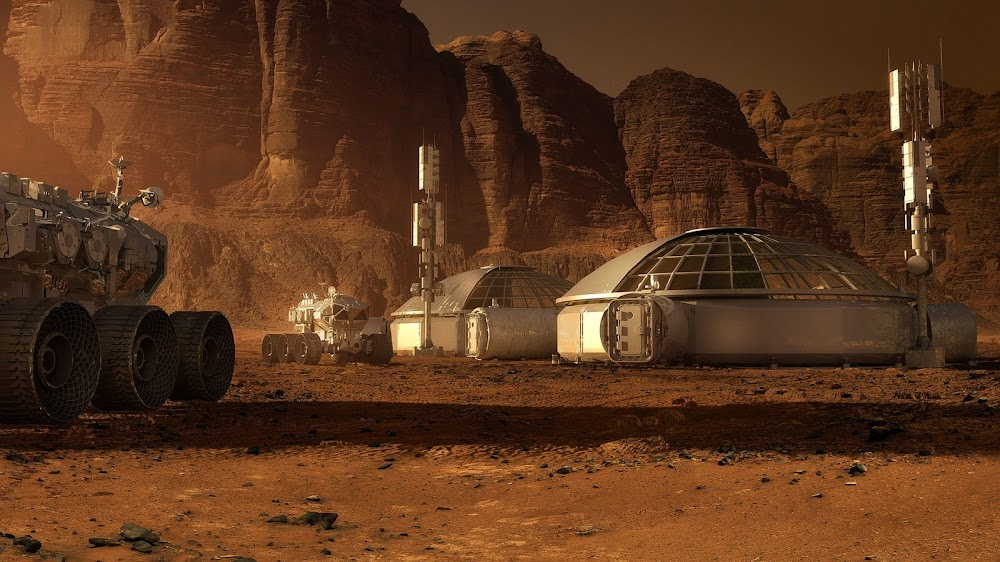 Mars base and rovers - concept art for The Martian by Steve Burg