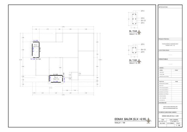 Denah Balok  Rumah Lantai 1 Elv +2,95 m