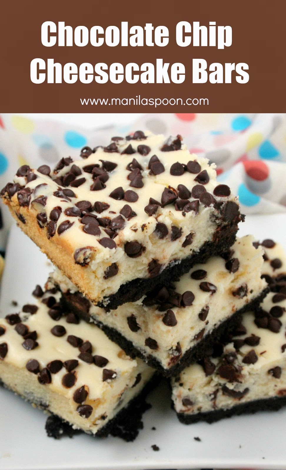 Craving chocolate and cheesecake? These delicious choco chip cheesecake bars are the solution! Easy recipe that you will make again and again. | manilaspoon.com