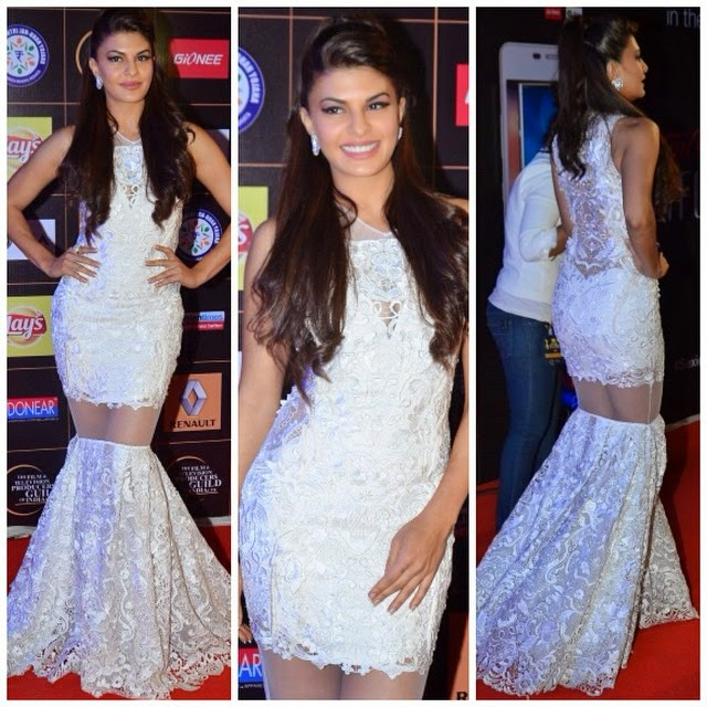jacqueline fernandez in a white lace gown by @gauravguptaofficial worn with @gehnajewellers1 ,, Hot Pics Of Jacqueline Fernandez At Star Guild Awards 2015